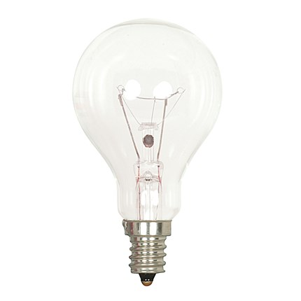 40A15/CL/E12 Satco S4160 40 Watt 130 Volt Incandescent Lamp