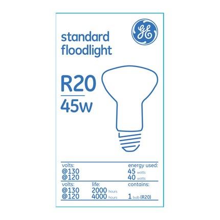 45R20/130V GE 73029 (6 PACK) 45 Watt 130 Volt Incandescent Lamp