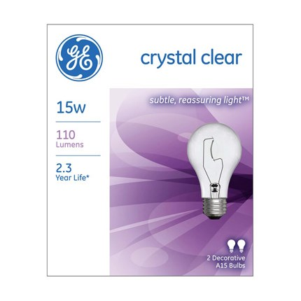 15A15/CL (24 Pack) GE 97488 15 Watt 120 Volt Incandescent Lamp