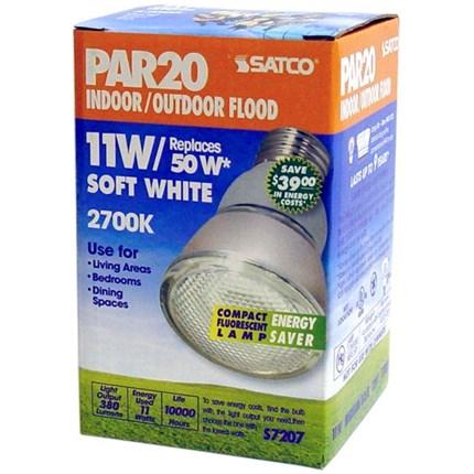 11PAR20/27 Satco S7207 11 Watt 120 Volt Compact Fluorescent Lamp