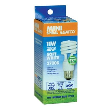 11T2/27 Satco S7214 11 Watt 120 Volt Compact Fluorescent Lamp